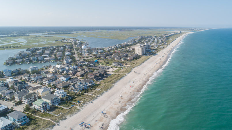 Aerial view of Wrightsville Beach, NC